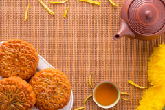 Mooncake and Tea Stock Photos