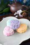 Mooncake with Tea Pot on Background Royalty Free Stock Photography