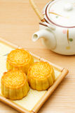Mooncake and tea Royalty Free Stock Image