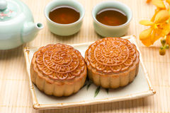 Mooncake and tea Stock Images