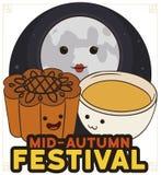 Mooncake, Teacup and Full Moon Celebrating Chinese Mid-Autumn Festival, Vector Illustration Stock Illustration