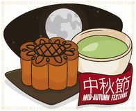 Mooncake, Teacup and Full Moon in the Chinese Mid-Autumn Festival, Vector Illustration Royalty Free Illustration