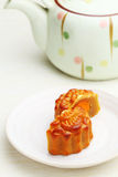 Mooncake with teapot Stock Image