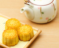Mooncake and teapot Stock Photos