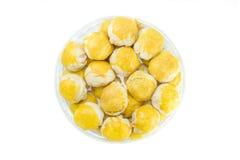 Mooncake in Thai style on white background Stock Photos