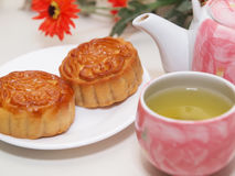 Mooncakes. Traditional mooncakes with green tea Royalty Free Stock Photo