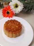 Mooncakes. Delicious mooncake with colorful flowers Royalty Free Stock Photo