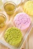 Mooncakes de la piel Nevado Imagen de archivo libre de regalías