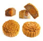 Mooncakes e ingrediente imagens de stock royalty free