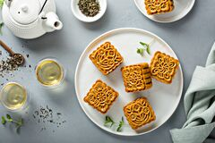 Free Mooncakes For The Chinese Mid Autumn Festival Stock Photos - 215466733