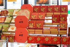 Mooncakes on the shelves royalty free stock photography