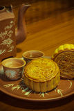 Mooncakes for two people. Mooncakes tea for two people to eat Royalty Free Stock Images