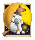 Moondog. A heroic German Shepherd stoically posing in front of a yellow moon wearing his trusy spacesuit Royalty Free Stock Image