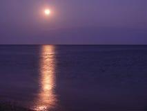 Moonen på hav. Royaltyfri Fotografi