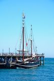 Moonfleet tallship along Swanage pier. Stock Images