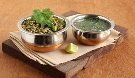 Moong Curry and Rasam Healthy Indian Vegetarian Food stock photo
