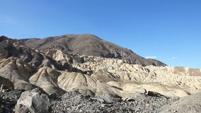 Moonland landscape at the wayside  on the way to the valley of Lamayuru in Ladakh stock footage