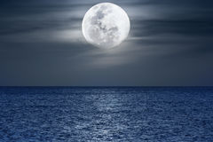 Moonlight. Water surface under moonlight at nighttime. Pacific Ocean stock image