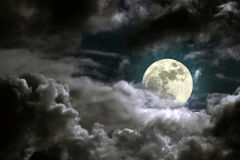 Moonlight. Illustration of an interesting full moon in a cloudy night