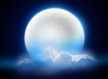 MoonLight. A bluish scene of a 3D moon surrounded by clouds Royalty Free Stock Image