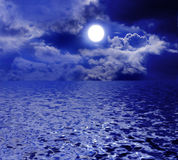 Moonlight. Full moon over the sea with moon path Royalty Free Stock Photos