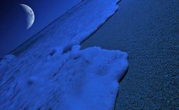 Moonlight. Space Art Moon light on tropical beach stock image