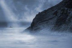 Moonlight. Lusty Glaze beach in Newquay, Cornwall, UK stock photography
