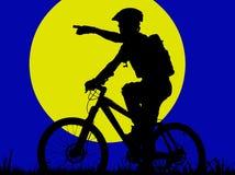 Moonlight. Mountain biker in moonlight - illustration (vector eps format stock illustration