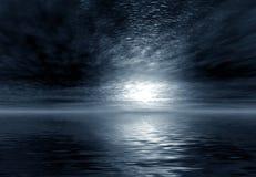 Moonlight. 3D landsacpe. Moonlight . Night sea Stock Photos