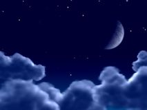 Moonlight. A view over the clouds in a night Stock Images