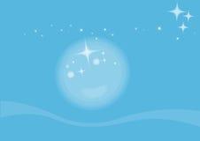 Moonlight. Illustrtion waves and stars background in moonlight Stock Image