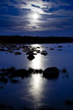 Moonlight. Reflecting in a calm water royalty free stock image