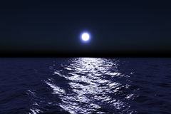 Moonlight. Reflecting on water surface stock photography