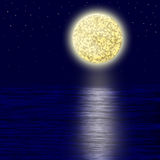 Moonlight. Moon and sea.Night stock illustration