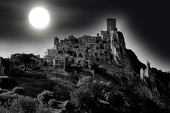 Moonlight at the abandoned village of Craco in Basilicata Royalty Free Stock Photo