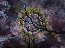 Moonlight Acrylic painting Royalty Free Stock Photos
