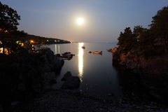 Moonlight at the Adriatic Coast Royalty Free Stock Images