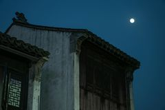 Moonlight in the ancient town royalty free stock photo