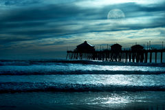 Moonlight on the beach Stock Photography