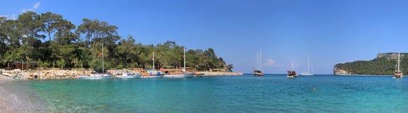 Moonlight Beach. Panoramic view of Moonlight Beach in Kemer, Turkey Royalty Free Stock Photography