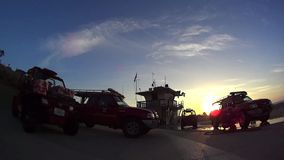 Moonlight Beach Lifeguard Station stock footage