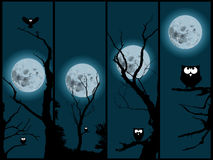 Moonlight and cartoon owl. Set of four pictures from the night with cartoon owl and moonlight vector illustration