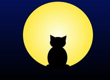Moonlight cat. A illustration of a cat silhouette against a moonlight sky Stock Images