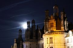 Moonlight on Chateau de Chambord Royalty Free Stock Image