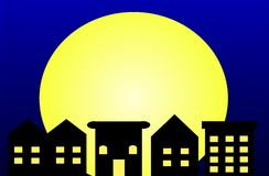 Moonlight City. An illustration of a row of houses in the moonlight Stock Image