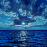 Moonlight in clouds over water Stock Image