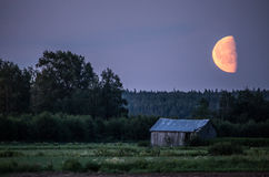Moonlight in countryside. Moonlight creating a good atmosphere at Finnish countryside Royalty Free Stock Image