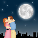 Moonlight Couple. Couple kissing under moon and stars with cityscape Stock Images