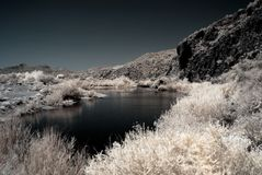 Moonlight Desert River. Moonlight river in the winter Arizona desert mountains Stock Photos