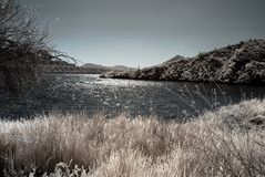 Moonlight Desert River. Moonlight river in the winter Arizona desert mountains Royalty Free Stock Image